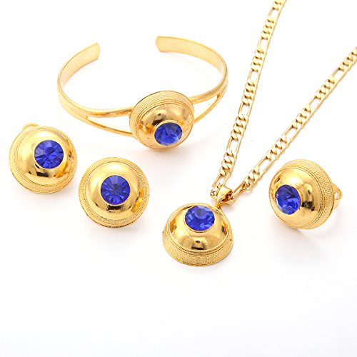 Promotion Wholesale (Wholesale Promotion Ethiopian Jewelry Sets 18k Gold Plated Ethiopia Jewelry African bridal jewelry (Blue))