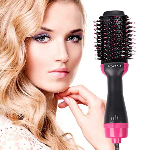 Roxsnls Hair Dryer Brush Hot Air Brush for Drying Styling Straightening and Curling Suitable for All Hair Types