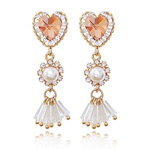 (WINGBLING Women Heart & Crystal Drop Dangle Earings, Swarovski Crystal & Pearl, Gold Plated 2 Pairs # Romantic Day (Peach))