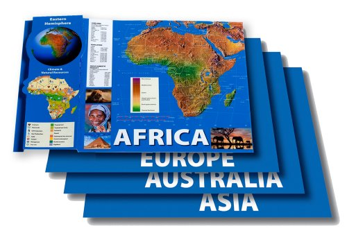 Carson Dellosa Mark Twain Eastern Hemisphere Maps Bulletin Board Set (410055) (Hemisphere Map)