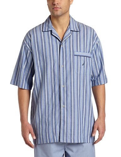 Nautica Men's Sultan Stripe Woven Pajama Top, Cornflower, Large (Pajama Top Woven Stripe)