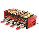 Raclette Grill | 3 floors Electric GrillPlate With 6/8 Mini Pans Thermal cycling • RED Smart Thermostatic Heat Control 260°C | Large Ridged Non-Stick Cooking Surface | 2100W