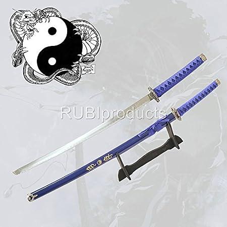 Amazon.com: SURVIVAL STEEL Samurai Ninja Blue Katana YIN ...