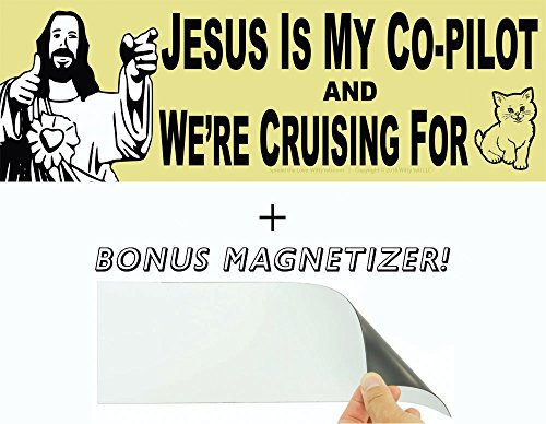 Jesus is My Co-Pilot & Were Cruising for...Cats? Bumper Sticker & Free Magnetizer. Best. Wingman. Ever. WWJD? Probably Shots. Funny Buddy Christ Joke. Hilarious Car, Window, Laptop & Driving Decal. (Wing Right Stickers Bumper)