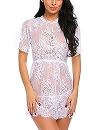 Avidlove Women Lingerie Lace Smock Mesh Nightgowns Transparent Babydoll