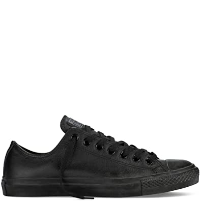 01d8d0e6a38 Converse Leather Chuck Taylor All Star Shoes (1T865) Low Top in Black  Monochrome