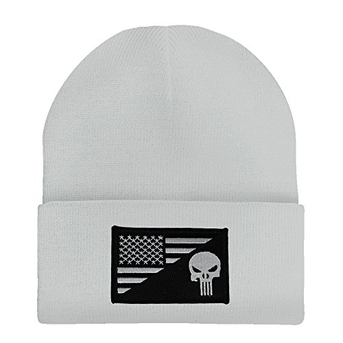 Made in USA - Punisher Black White American Flag Embroidered Patch Long Cuff Beanie - WHITE]()