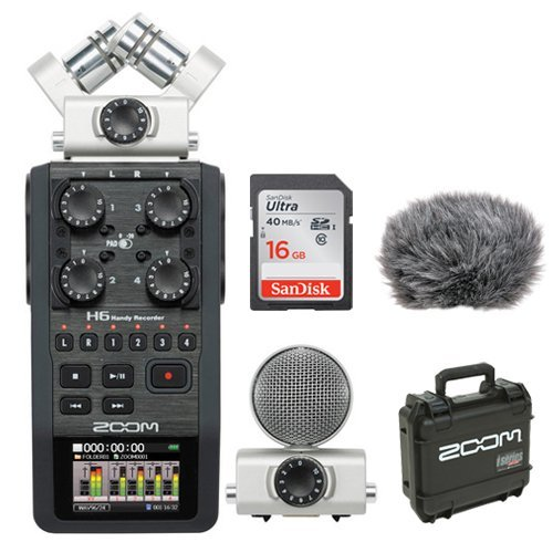 Zoom H6 Portable Recorder Kit with Custom Windbuster + 16GB