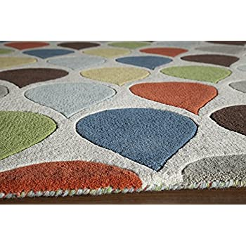 "Momeni Rugs DELHIDL-54MTI2380 Delhi Collection 100% Wool Hand Carved & Hand Tufted Contemporary Area Rug, 23"" x 80"" Runner, Multicolor"