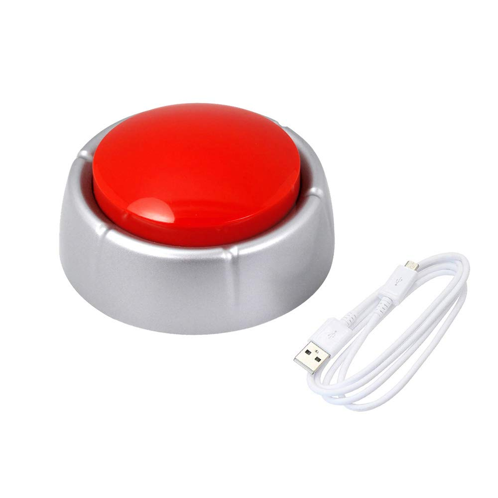 Cover Recordable USB Sound Button, Own Your Personal Button by Uploading Audio Files/Support More Than 100 Recordings Playback USB Cable (Red+Silver) by Cover
