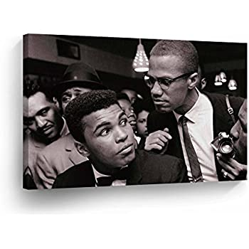 e97f23f539b Muhammad Ali and Malcolm X In Meeting CANVAS PRINT Decorative Art Wall Decor  Wrapped Artwork Wood Stretcher Bars - Ready to Hang -%100 Handmade in the  USA - ...