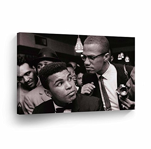(Muhammad Ali and Malcolm X In Meeting CANVAS PRINT Decorative Art Wall Decor Wrapped Artwork Wood Stretcher Bars - Ready to Hang -%100 Handmade in the USA - 8x12)