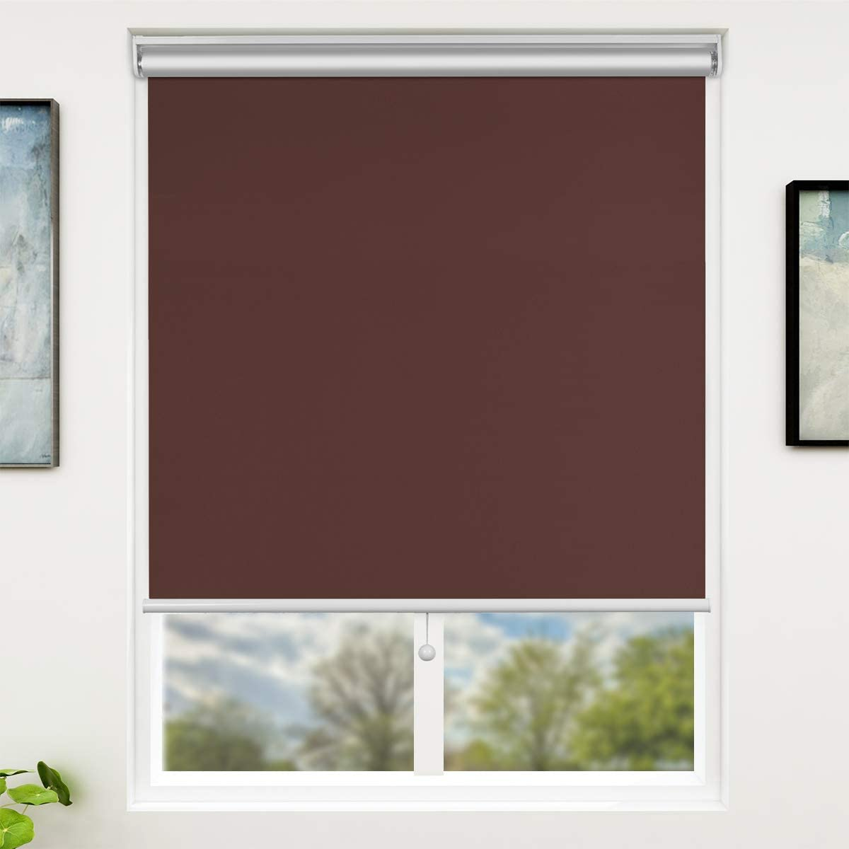 SUNFREE 48 x 72 Inch Blackout Window Shades Cordless Window Blinds with Spring Lifting System for Home & Office, Mocha