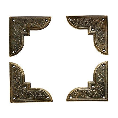 Chenxi Shop 8 pcs antique Coin de meuble Mé tal Dé co Coffret cadeau Boî te en bois fer Angle