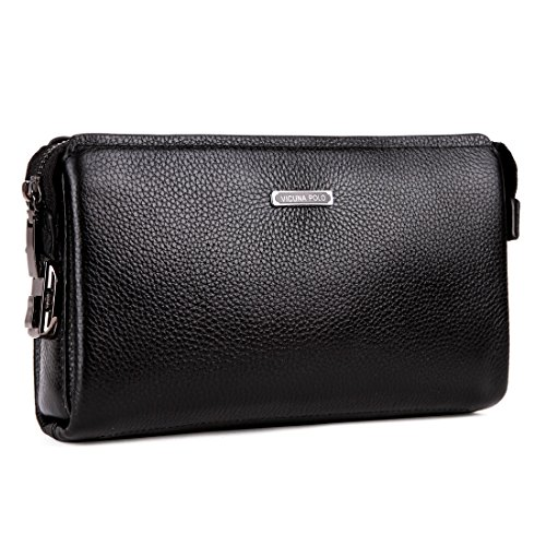 Clutch Polo - VICUNA POLO Men Clutch Bag Genuine Leather Business Handbag Men Wallet With Lock (black)