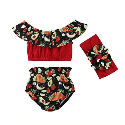 Price comparison product image Baby Girl Floral Off Shoulder Tops+Ruffle Waist Shorts+ Headband 3Pcs Outfits Summer Avocados Hamburger Clothes (12-18 T,  Red)
