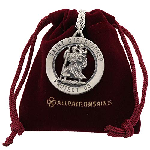 - Men's Large Saint Christopher Round Cut Out Medal and Necklace Solid 925 Sterling Silver - 24 Inch 925 Sterling Silver Chain - 32.50 Mm (1.27 Inch)