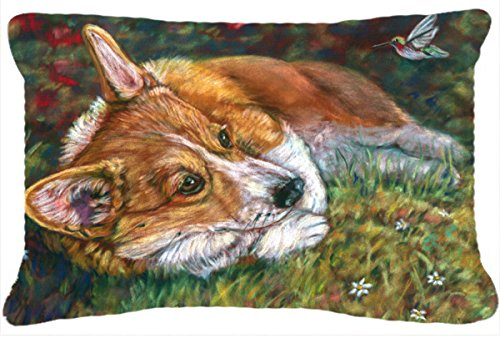 Caroline's Treasures 7326PW1216 Corgi Pastel Hummingbird Fabric Decorative Pillow, Large, Multicolor (Garden Treasures Hummingbird)