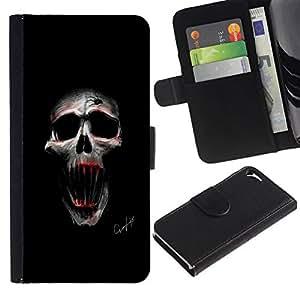 All Phone Most Case / Oferta Especial Cáscara Funda de cuero Monedero Cubierta de proteccion Caso / Wallet Case for Apple Iphone 5 / 5S // Evil Skull