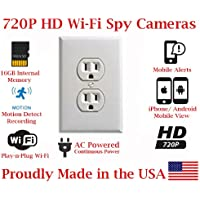 SecureGuard Elite 720p HD WiFi Wireless IP AC Power Receptacle Outlet Hidden Security Nanny Cam Spy Camera with 16GB Memory (White)