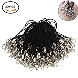 "Fashionclubs 2.56"" 200pcs/set Black Lanyard Lobster Clasp Lariat Cord Strap For Cellphone"