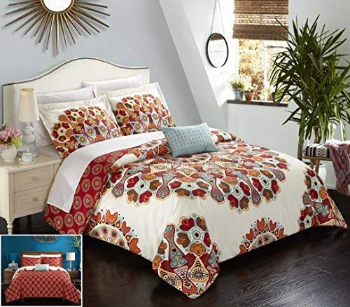 (Chic Home 4 Piece Maxim Large Scale Paisley Bohemian Reversible Printed with Embroidered Details. King Duvet Cover Set Red)