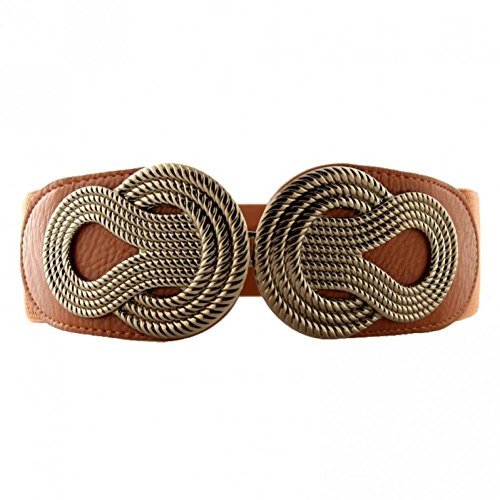 Retro Womens Wide Waist Elastic Belt Metal Interlock Buckle Stretchy Cinch for Dress,Brown,Large(28