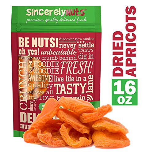 Sincerely Nuts - Dried Jumbo California Apricots | One Lb. Bag | Healthy Pitted Apricot Fruit | Raw Vegan Snack | Dehydrated | Sweet Gourmet Snacking Food | Kosher and Gluten Free ()