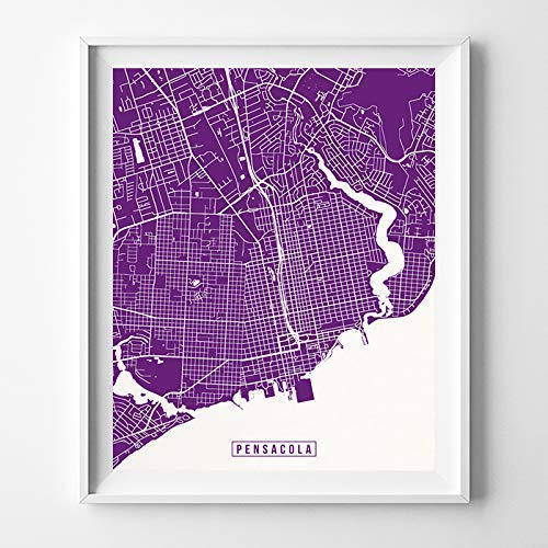 Amazon Com Pensacola Florida Map Print Street Poster City Road Wall