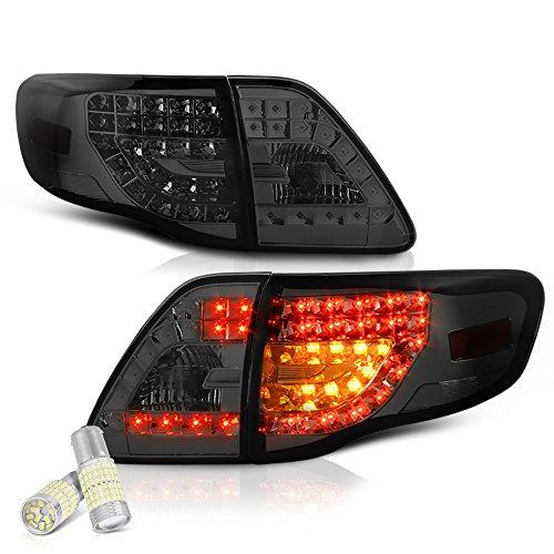 ([For 2009-2010 Toyota Corolla] VIPMOTOZ Premium LED Tail Light Lamp - Full SMD LED Backup Bulbs, Chrome Housing, Smoke Lens, Driver & Passenger Side)