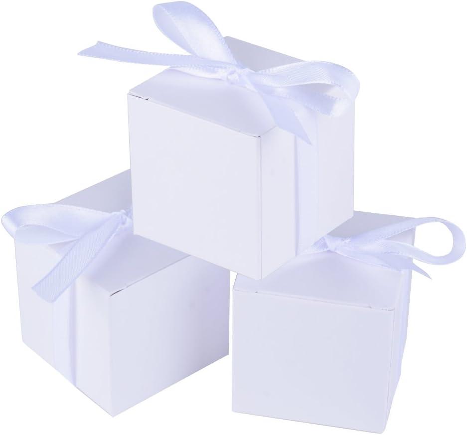 100 x Cajas de Caramelo Dulce Bombones para Bautizo Boda 5 * 5 * 5cm Regalos Recuerdos para Invitados de Fiesta Blanco