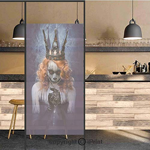 3D Decorative Privacy Window Films,Queen of Death Scary Body Art Halloween Evil Face Bizarre Make Up Zombie,No-Glue Self Static Cling Glass Film for Home Bedroom Bathroom Kitchen Office 24x71 Inch]()