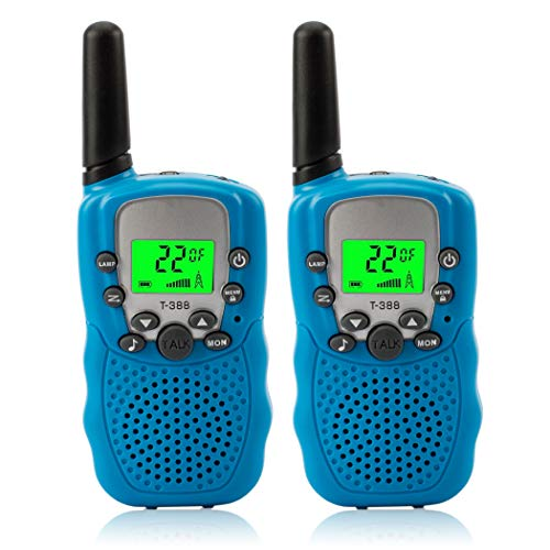 Kids Walkie Talkies, 22 Channel 2 Way Radio Children's Toy Set with Flashlight Backlit LCD Screen, 3 Miles Range FRS/GMRS Handheld Mini Walkie Talkie Toys for Kids/Children Toys/Gift (Blue)