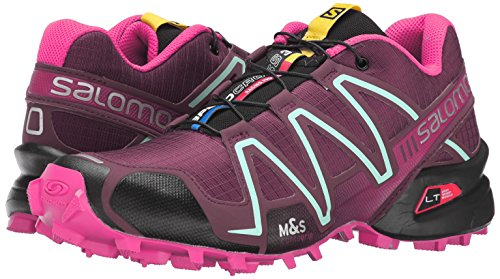 Salomon Women's Speedcross 3 W Trail Running Shoe, Bordeaux/Hot Pink/Lotus Pink, 10 B US by Salomon (Image #6)