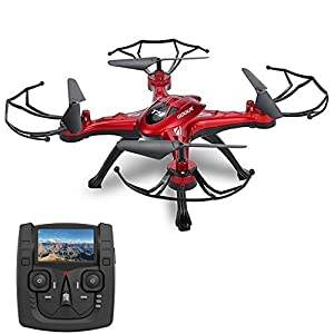 GoolRC 5.8G FPV Drone with 2.0MP HD Camera Live Video, Headless Mode, One Key Return and 3D Flips RC Quadcopter Height Hold Easy Fly for Learning(RED) from GoolRC