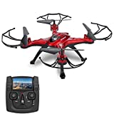 GoolRC T5G 5.8G FPV Drone Quadcopter with 720P HD Camera Live Video, Headless Mode, One Key Return and 3D Flips RC Quadcopter Height Hold Easy Fly for Learning(RED)