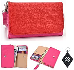 Pink Red Wallet Phone Cover Wristlet Clutch Case Fits Intex Aqua Trendy + NuVur 153; Keychain |ESAMMTMR|
