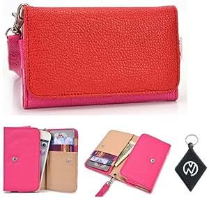 Pink Red Wallet Phone Cover Wristlet Clutch Case Fits Blu Hero II S182 + NuVur 153; Keychain |ESAMMTMR|