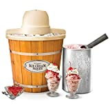 Nostalgia ICMP400WD Electric Wood Bucket Ice Cream Maker, 4-Quart, Brown