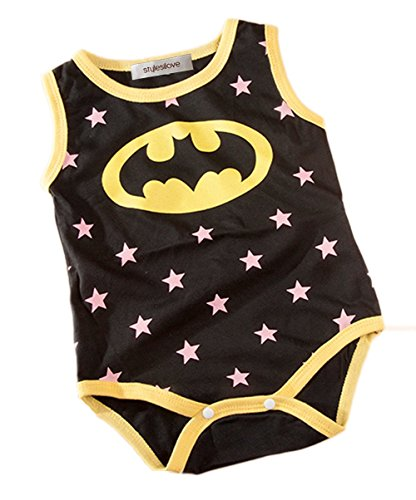 StylesILove Super Hero Print Baby Boy Jumpsuit (3-6 Months, Black Batman)