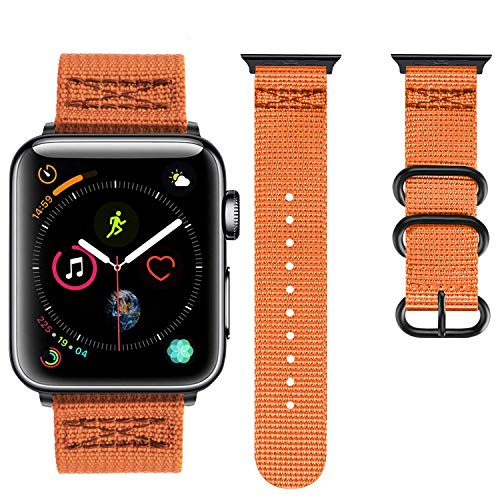 (Booyi Sport Band Compatible with Apple Watch 42mm 44mm 38mm 40mm, Nylon Replacement for iWatch Series 4 3 2 1)