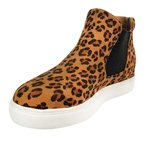 (Malbaba High Top Slip on Platform Sneakers Flatform Chelsea Booties Flat Ankle Boots Brown)