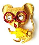 Rare Jonette Mouse Pin Googley Eye Glasses Signed Retired Mice Retired Estate Pin Brooches for Women