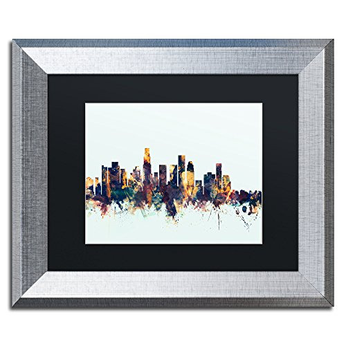Los Angeles CA Skyline Blue by Michael Tompsett, Black Matte, Silver Frame 11x14-Inch (Egg Big Green Los Angeles)
