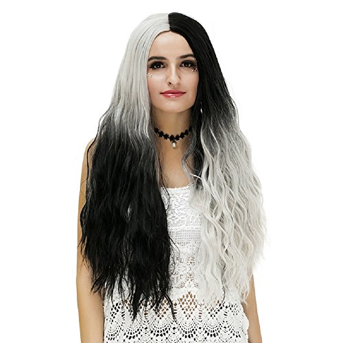 Probeauty Patch Collection Mix Color Wavy Curly Wigs for Women Mix Black Grey Cosplay Wig (Black Grey Ombre) (Black Dynamite Halloween Costume)