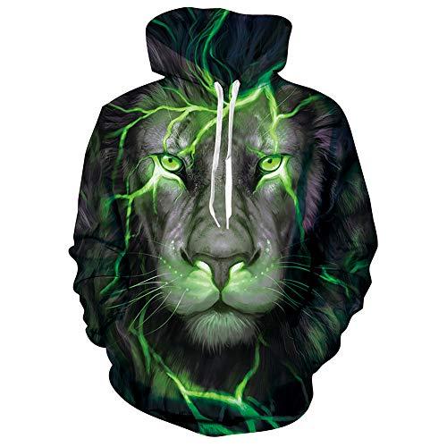 SunFocus Animal Grapfik Kapuzenpullover Männer Frauen 3D Herbst Winter Wear Damen Herren Löwen Grafik Druck Langarm Sweatshirt Pullover mit Tasche L