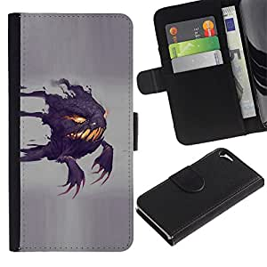 KingStore / Leather Etui en cuir / Apple Iphone 5 / 5S / Divertido Scary Ghost