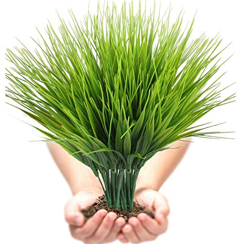 (Artificial Plants Outdoor UV resistant Faux Plastic Wheat Grass Fake Leaves Shrubs Window Box Wholesale Greenery Bushes Indoor Outside Home Garden Light Green Verandah Office Windowsill Decor- 4 PCS)