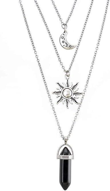 MJartoria Moon Pentagram Chakra Charm Pendant 3 Multi Layer Alloy Chain Choker Necklace Set