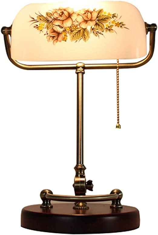 Lámpara de mesa, lámpara de banquero vintage de madera maciza ...